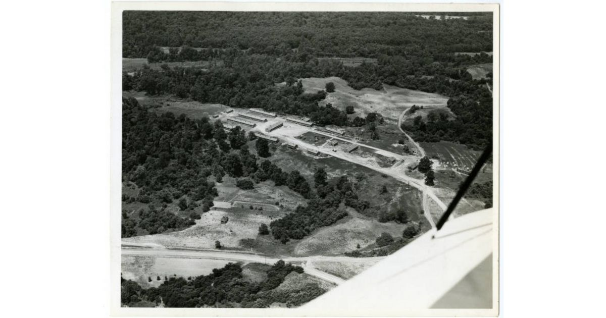 Aerial view of the Civilian Conservation Corps Camp at T.O. Fuller State Park