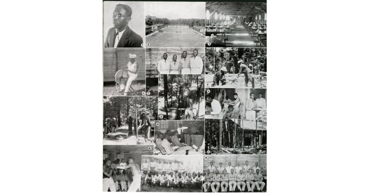 Composite of fourteen photographs showing the daily life of Civilian Conservation Corps Company 3459