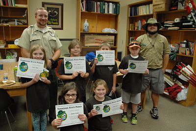 Junior Rangers at Pinson Mounds with Certificates.