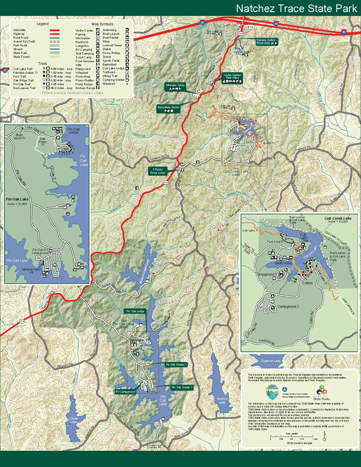 State Parks Tennessee Map.Natchez Trace State Park Tennessee State Parks